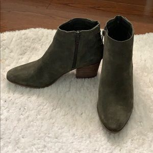 Aldo olive green suede ankle booties